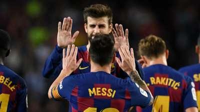 Gerard Pique Lionel Messi Barcelona 2019-20