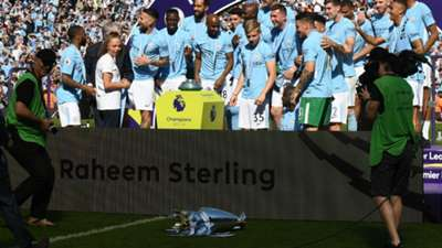 Manchester City trophy on the ground