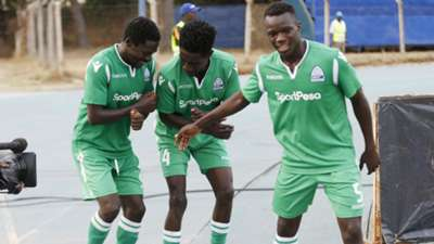 lawrence Juma celebrates with Wellington Ochieng of Gor Mahia