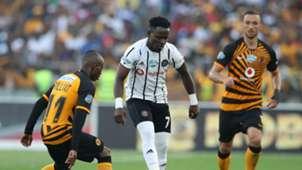 Gabadinho Mhango of Orlando Pirates challenged by Samir Nurkovic and Khama Billiat of Kaizer Chiefs, November 2019
