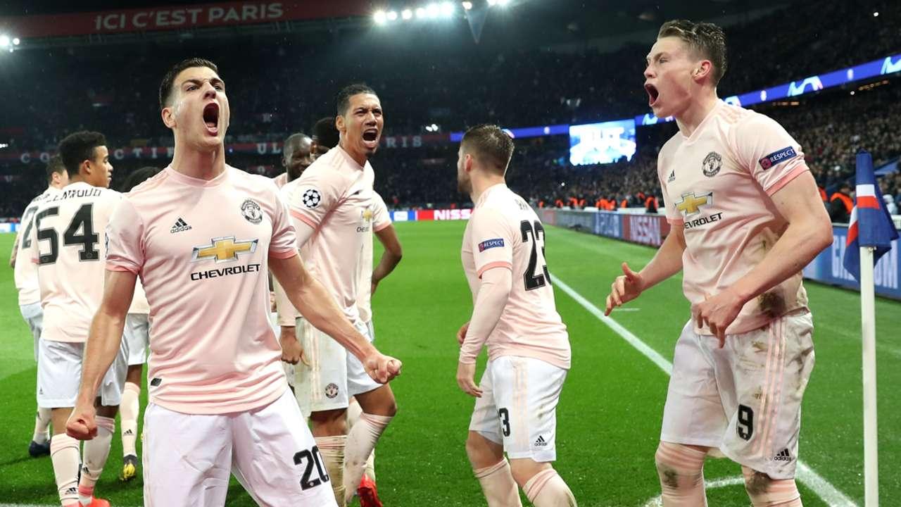 Man Utd celebrate vs PSG, Champions League 2018-19