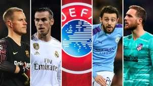 Ter Stegen (Barcelona), Bale (Real Madrid), Logo UEFA, Bernardo Silva (Manchester City) y Oblak (Atlético de Madrid)