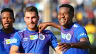 Sipho Mbule, Bradley Grobler & Thamsanqa Gabuza, SuperSport United, August 2019