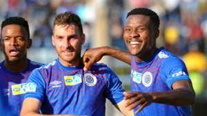 Sipho Mbule, Bradley Grobler & Thamsanqa Gabuza, SuperSport United, August 2019