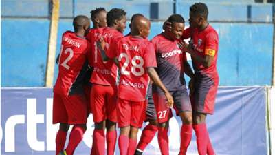 Isaac Kipyegon and AFC Leopards players celebrate.