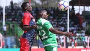 Gor Mahia striker Meddie Kagere v Duncan Otieno of AFC Leopards.