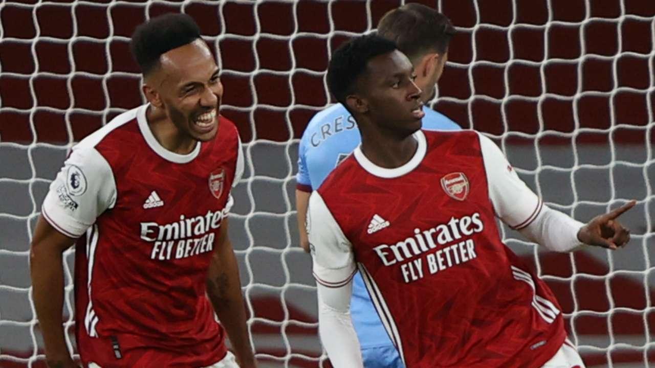 Pierre-Emerick Aubameyang Eddie Nketiah Arsenal West Ham 2020-21