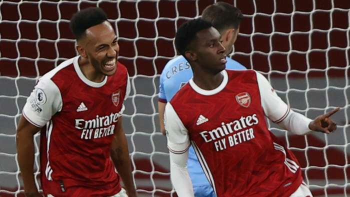 Pierre-Emerick Aubameyang Eddie Nketiah Arsenal West Ham 2020-21