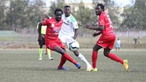 Jerry Santos and Simon Mbugua of Posta Rangers v Francis Mustapha of Gor Mahia