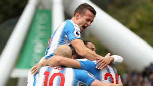 Huddersfield Town celebrate against Manchester United