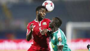 Musa Mohamed of Kenya and Harambee Stars v Sadio Mane of Senegal.