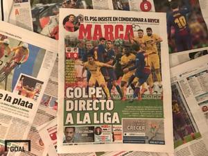 5일(현지시간) 스페인 신문 마르카 1면에 보도된 4일(현지시간) 아틀레티코전에서 나온 메시의 프리킥 골. 사진=골닷컴 이하영 에디터
