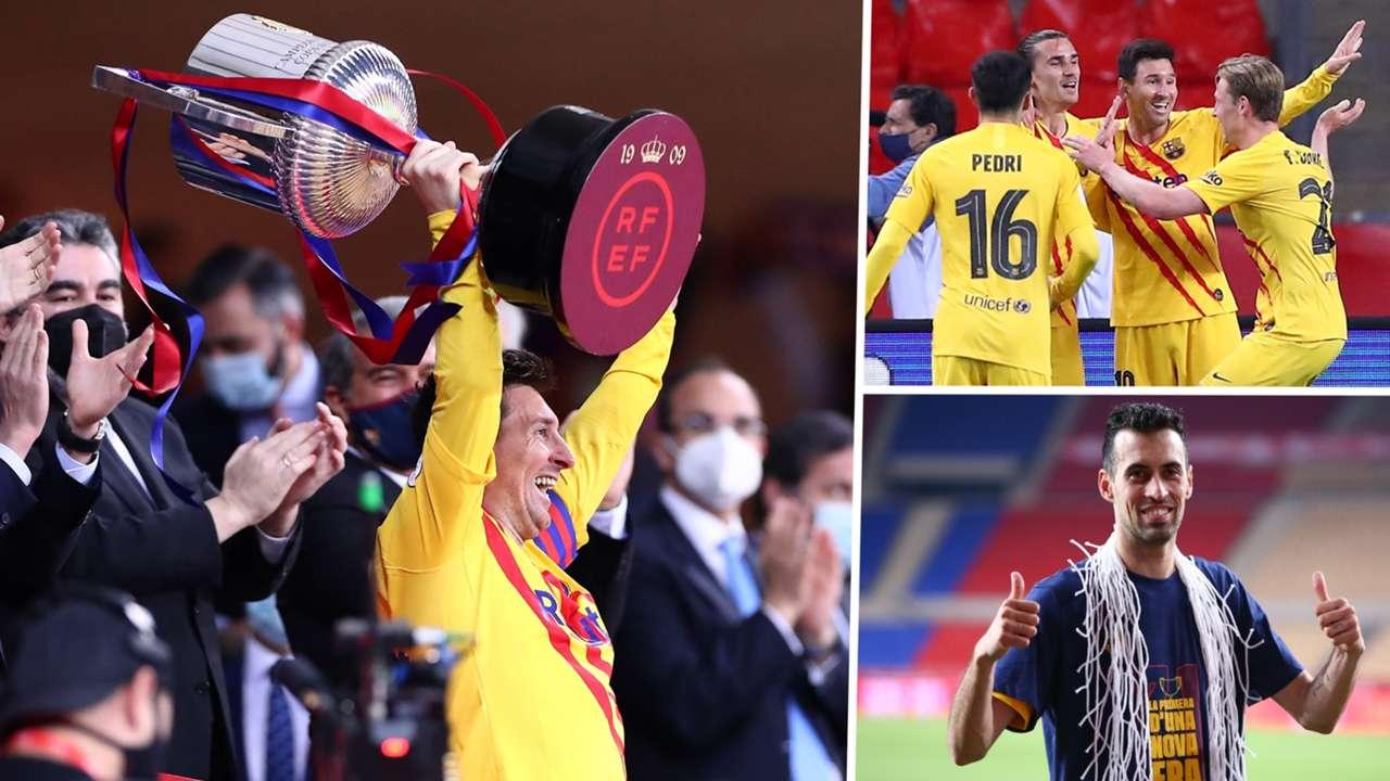 Lionel Messi Sergio Busquets Barcelona Athletic Club Copa del Rey 2021