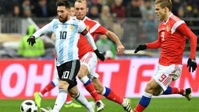 Lionel Messi and Aleksandr Kokorin.