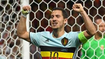 Eden Hazard celebrates against Hungary