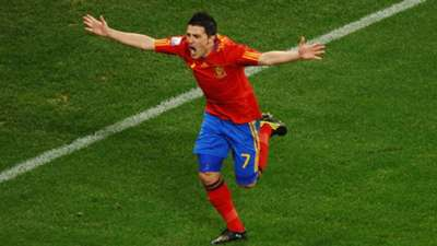 David Villa of Spain celebrates scoring the opening goal during the 2010 FIFA World Cup South Africa