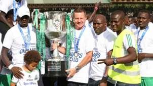Gor Mahia coach Dylan Kerr with KPL trophy.