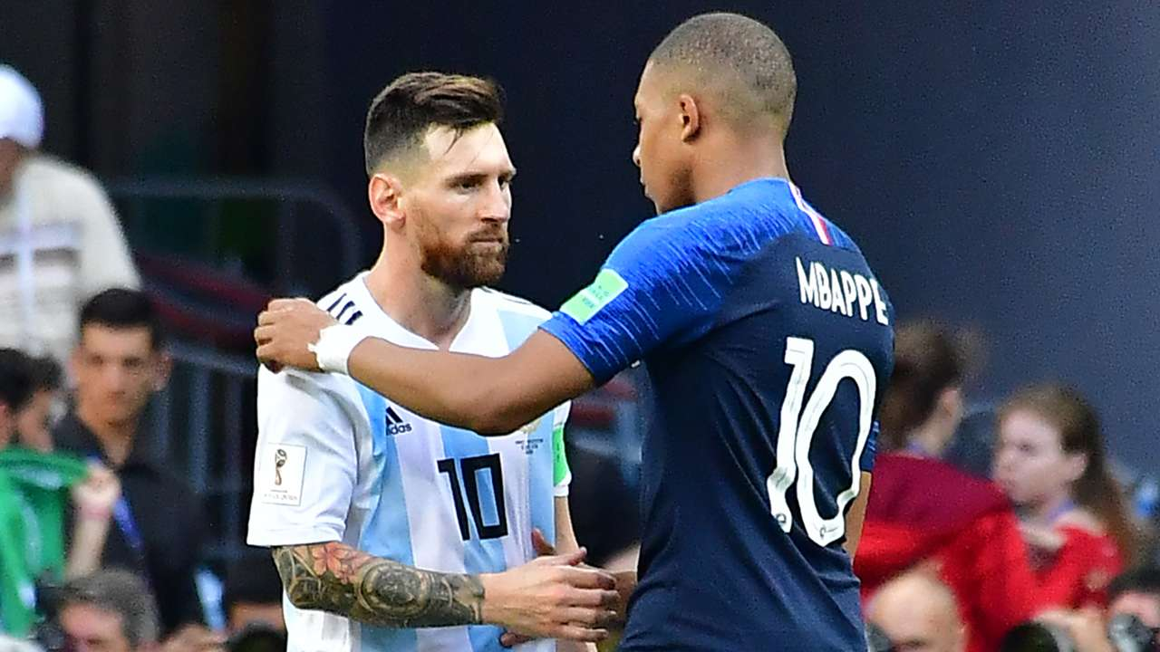 Lionel Messi Kylian Mbappe World Cup 2018