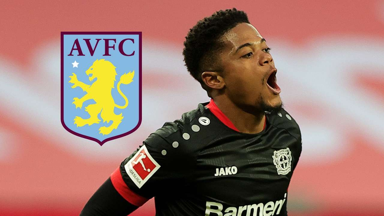 Leon Bailey, Bayer Leverkusen, Aston Villa badge