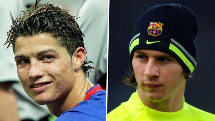Cristiano Ronaldo Lionel Messi young GFX
