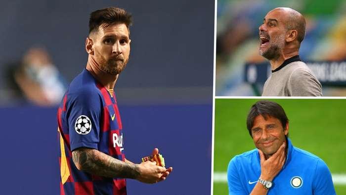 Lionel Messi Pep Guardiola Antonio Conte Barcelona Man City Inter GFX