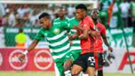 Harris Tchilimbou of Bloemfontein Celtic and Vincent Pule of Orlando Pirates, January 2020