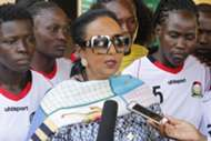 Sports Cabinet Secretary Amb. Amina Mohamed addresses the press after her visit to the Harambee Starlets.