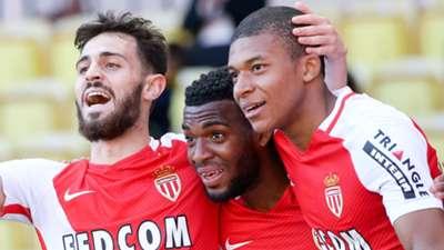 GERMANY ONLY Bernardo Silva, Thomas Lemar Kylian Mbappe AS Monaco