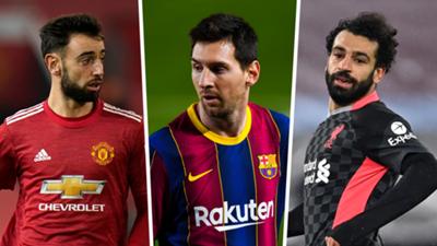 Bruno Fernandes, Lionel Messi, Mohamed Salah GFX