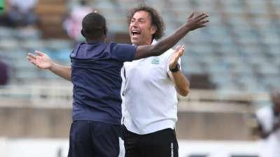 Gor Mahia coach Zedekiah Otieno and Hassan Oktay.