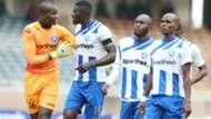Ezekiel Owade Abdallah Juma and Whyvonne Isuza of AFC Leopards.
