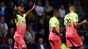 Raheem Sterling celebrates vs Preston North End