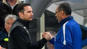 Frank Lampard and Maurizio Sarri Chelsea Derby County