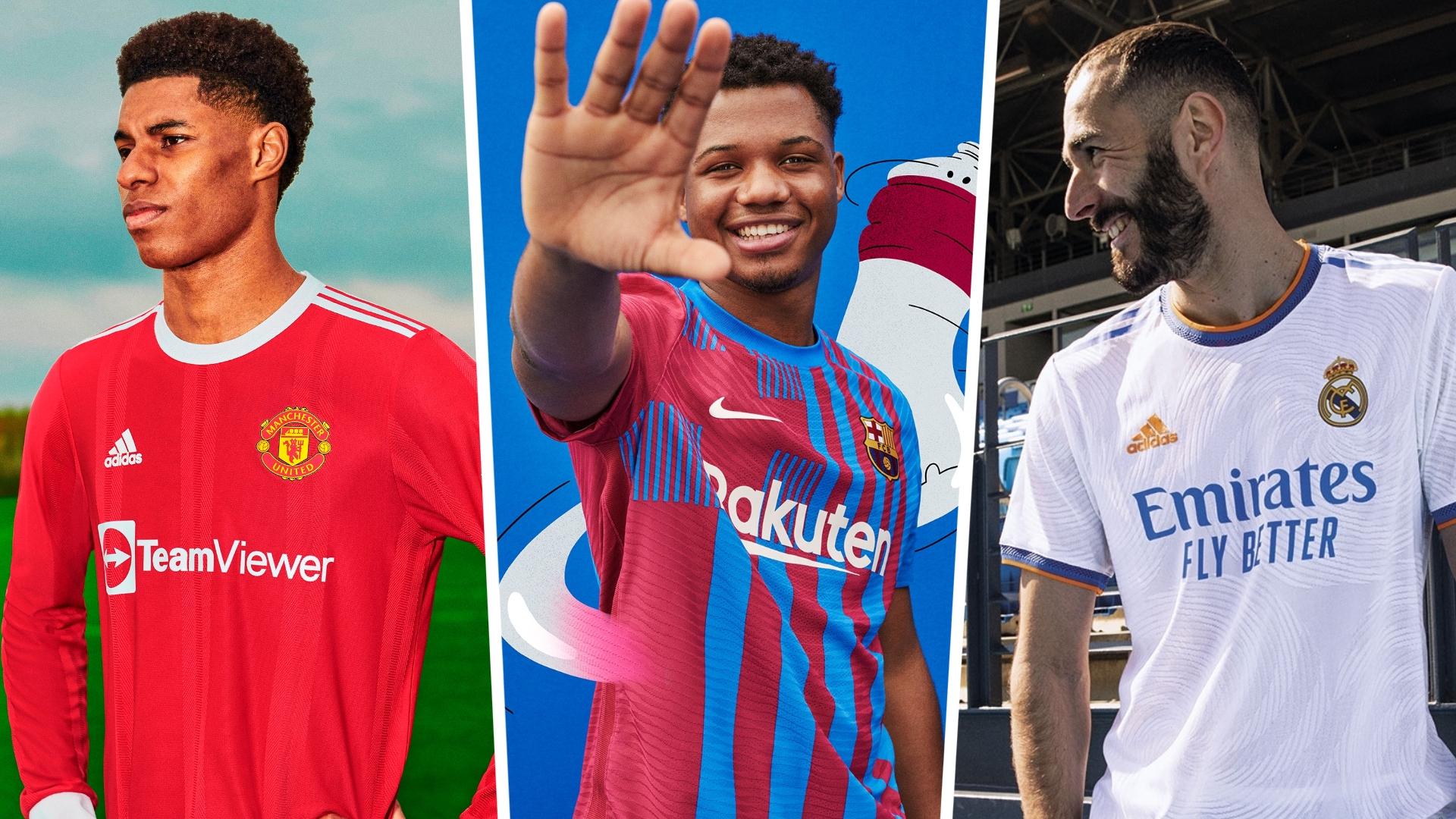 New 2021 22 Football Kits Barcelona Man Utd All The Top Clubs Shirts Jerseys Revealed Goal Com