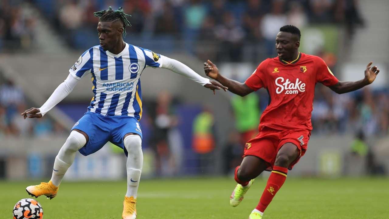 Yves Bissouma of Brighton, Oghenekaro Etebo of Watford