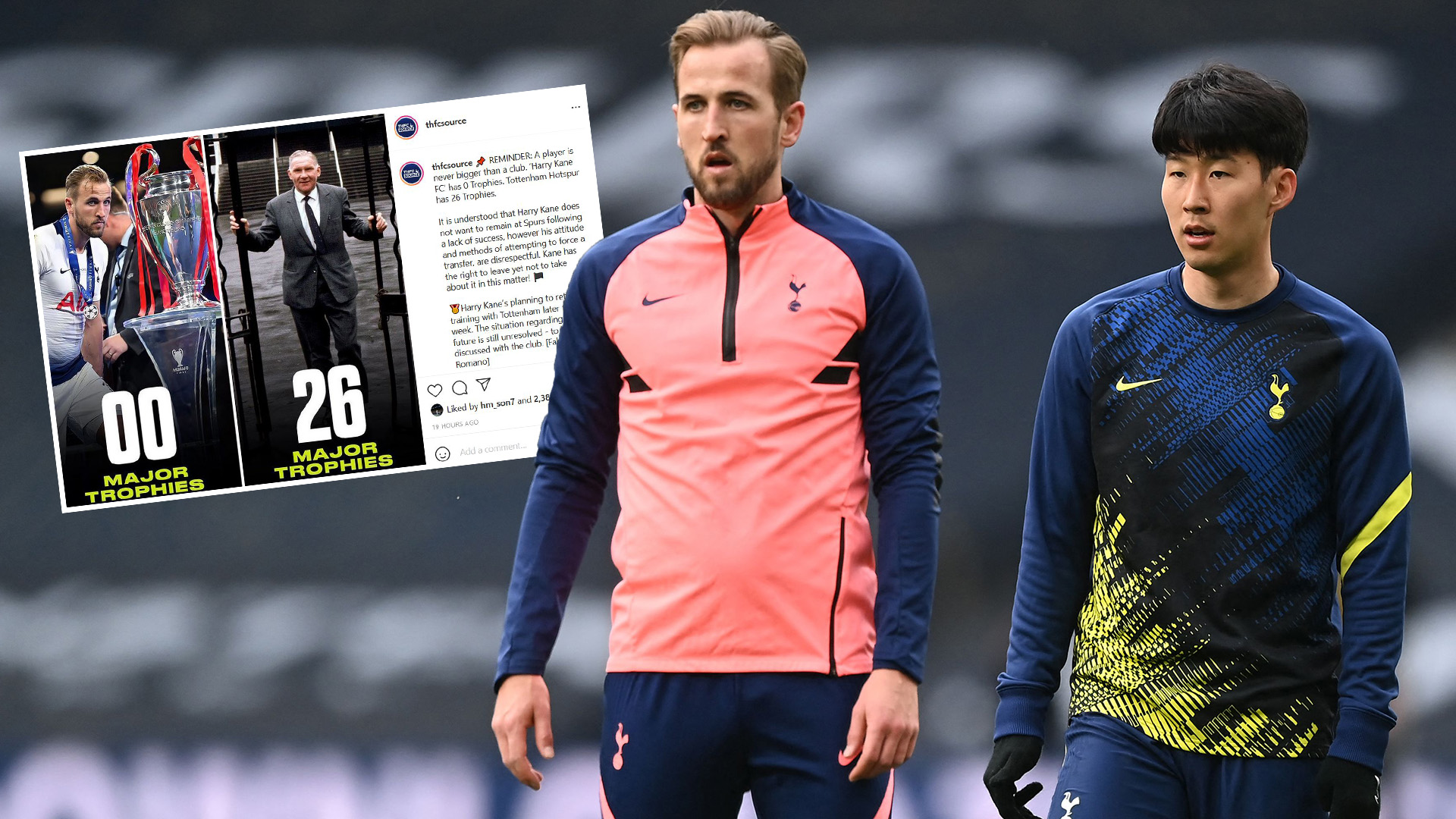 'Kane FC has 0 trophies' - Heung-Min Son 'likes' Instagram photo calling out Tottenham star after he misses training