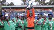 Gor Mahia keeper David Mapigano with KPL Super Cup trophy.