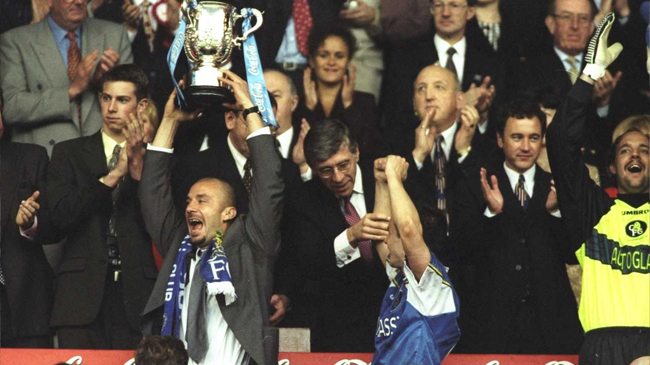 Chelsea 1998 League Cup win - Vialli and Wise