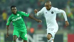 Xola Mlambo of Orlando Pirates challenged by Perfect Chikwende of FC Platinum, March 2019