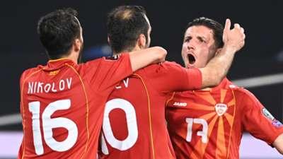 North Macedonia celebrate Goran Pandev goal vs Germany 2021
