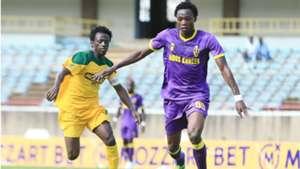 KEVIN KIMANI of Mathare United CHALLENGE MUSA BRIAN of Wazito FC.