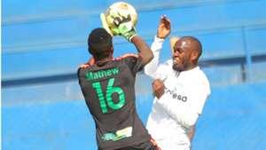 Gad Mathew of Kariobangi Sharks v Whyvonne Isuza of AFC Leopards.