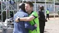 Gor Mahia coach Dylan Kerr and Robert Matano of AFC Leopards.