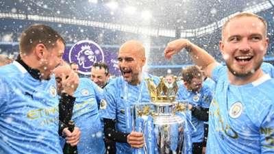 Guardiola Premier League trophy Manchester City