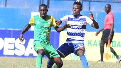 Cavin Odongo of Kariobangi Sharks v Sammy Ndungu of Mount Kenya United.