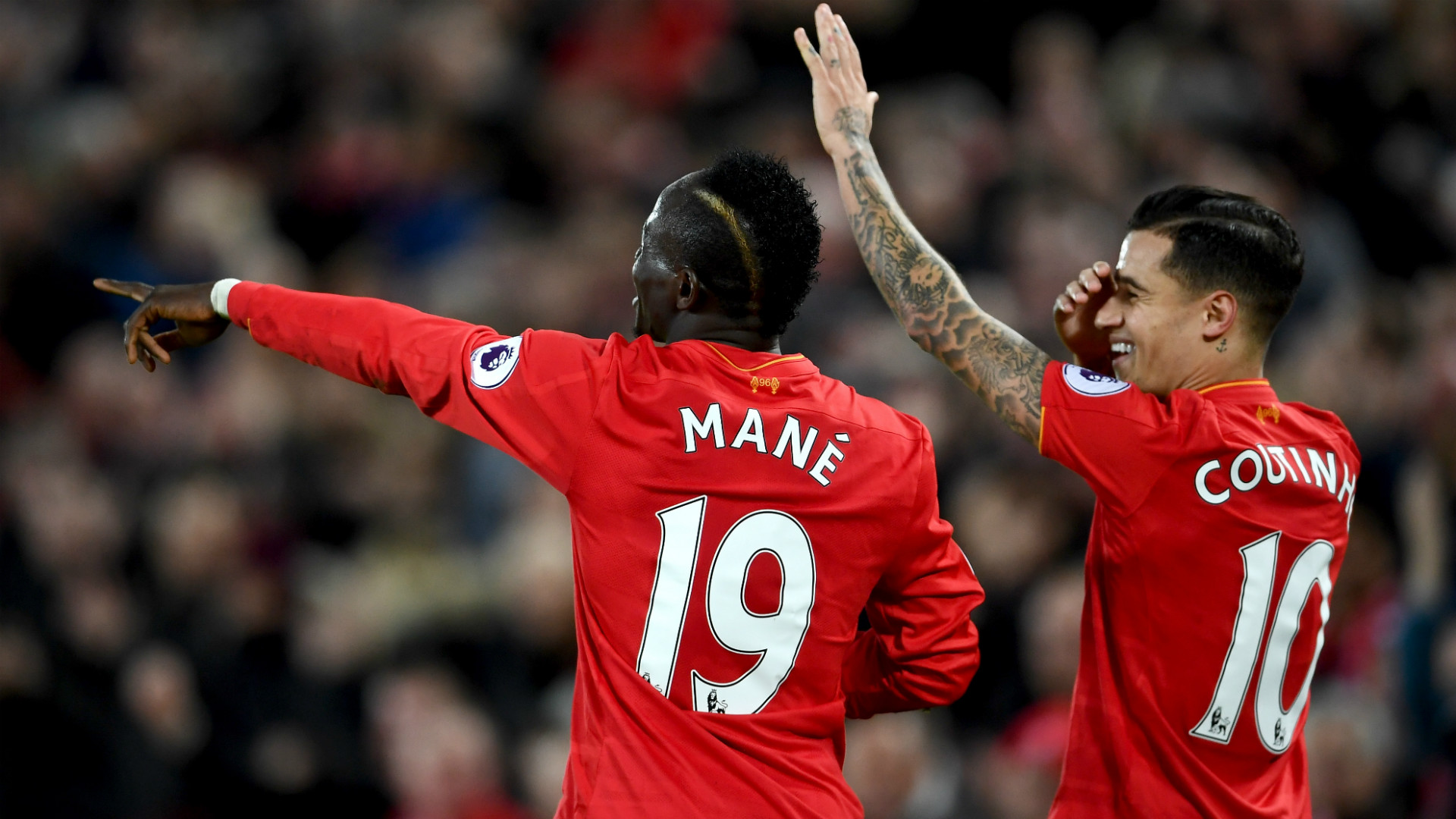 HD Sadio Mane Phil Coutinho Liverpool celebrate