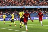 Sadiq Ibrahim celebrates his goal against Colombia