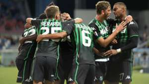Sassuolo celebrating goal against Genoa