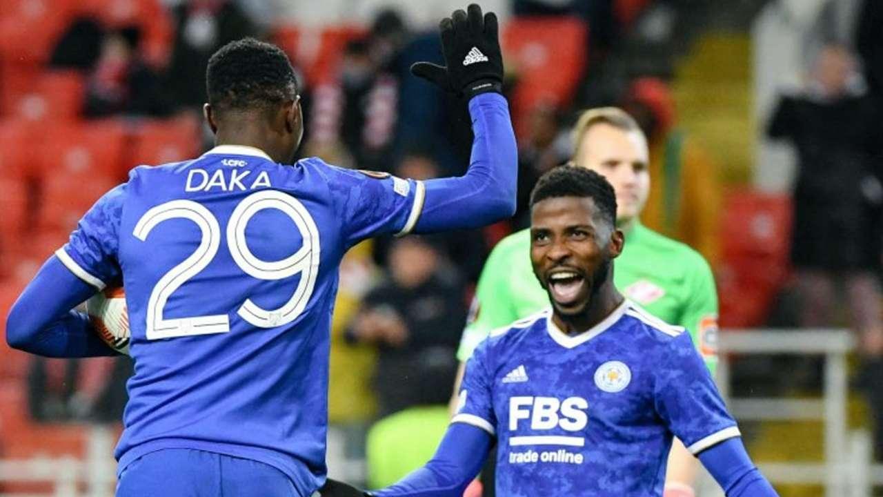 Patson Daka and Kelechi Iheanacho of Leicester City.