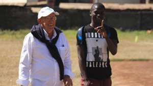 Mathare United chairman Bob Munro and Erick Johanna looked jovial throughout the training session.